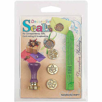 Manuscript Pen 7273SEA Decorative Sealing Set WithGreen Wax-Flower, Leaf & Snowflake Coins