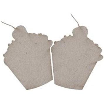 Fabscraps 270722 Die-Cut Grey Chipboard Embellishments-Cupcake Shapes 2-Pkg