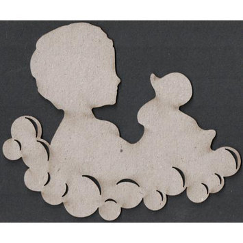 Fabscraps 270764 Die-Cut Grey Chipboard Embellishments-Child & Duck In Bubbles