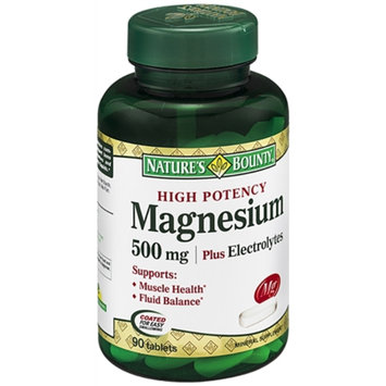 Nature's Bounty High Potency Magnesium 500mg Plus Electrolytes, Tablets, 90 ea