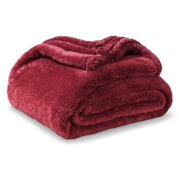 Threshold Fuzzy Throw Blanket - Ruby