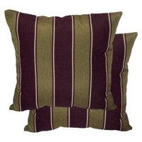 Plantation Patterns 2-Piece Outdoor Toss Pillow Set - Brown/Green Stripe 18
