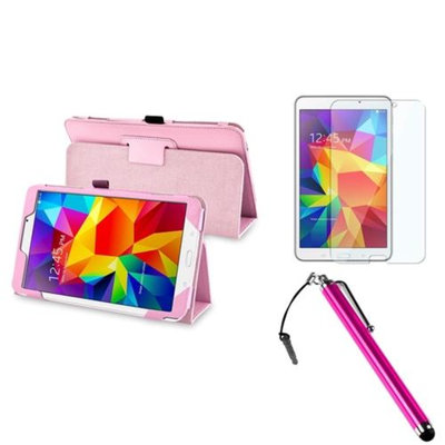 Insten INSTEN Pink Leather Stand Case+Screen Protector+3.5mm Stylus Pen For Samsung Galaxy Tab 4 8.0 8