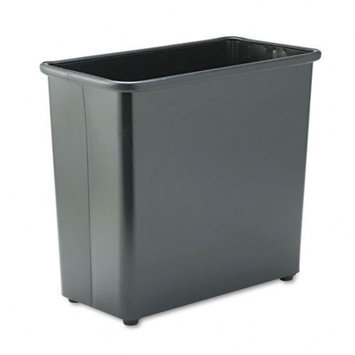 Safco Fire-Safe Wastebasket, Rectangular, Steel, 27.5qt, Black