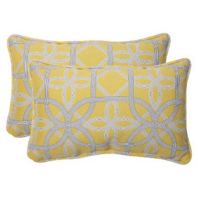 Pillow Perfect Outdoor 2-Piece Rectangular Throw Pillow Set - Yellow/Gray Keene