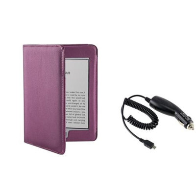 Insten INSTEN Purple Leather Cover Skin Case Pouch+In Car DC Charger For Amazon Kindle Touch