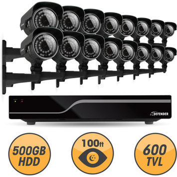 Defender Sentinel 16CH H.264 500GB Security DVR w/ 16 Hi-res Outdoor Surveillance Cameras and Smart Phone Compatibility