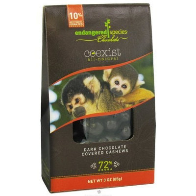 Endangered Species Chocolate Endangered Species Dark Chocolate Covered Cashews, 3 Ounce (Pack of 6)