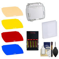 Nikon SJ-4 Speedlight Color Filter Set for the SB-700 Flash with Batteries & Charger + Cleaning Kit
