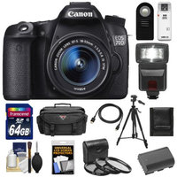 Canon EOS 70D Digital SLR Camera & EF-S 18-55mm IS STM Lens with 64GB Card + Battery + Case + 3 UV/CPL/ND8 Filters + Flash + Tripod + Accessory Kit