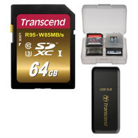 Transcend 64GB SecureDigital SDXC UHS-3 R95/W85 MB/S Memory Card with 3.0 Card Reader + Card Case