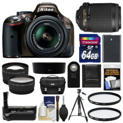 Nikon D5200 Digital SLR Camera & 18-55mm G VR DX AF-S Zoom Lens (Bronze) with 55-200mm VR Lens + 64GB Card + Case + Grip & Battery + Tripod + Tele/Wide Lenses + Filters Kit