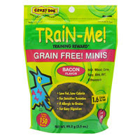 Crazy Dog Train-Me Mini Training Reward Bacon Dog Treats, 3.5 oz, 150 count.