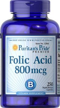 Puritan's Pride 2 Units of Folic Acid 800 mcg-250-Capsules