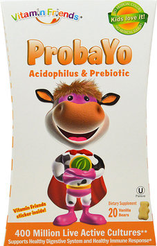 Vitamin Friends - ProbaYo Acidophilus and Prebiotic Vanilla Flavor - 20 Yogurt Bears - CLEARANCE PRICED