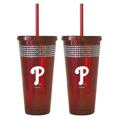 Boelter Brands MLB Padres Set of 2 Bling Straw Tumbler - 22oz