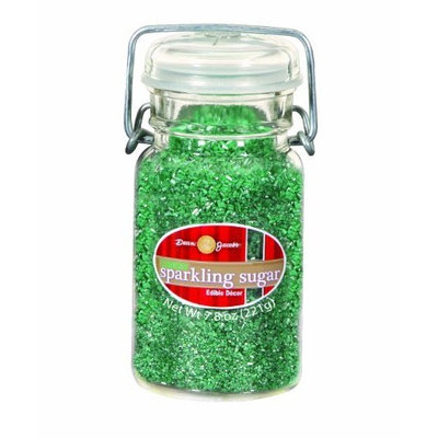 Dean Jacob's Dean Jacobs Green Sparkling Sugar-Glass Jar with Wire, 7.8-Ounce (Pack of 3)