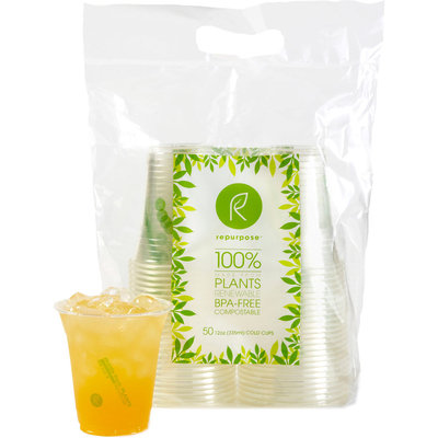 Cup Clear Compostable, 50 Ct by Repurpose