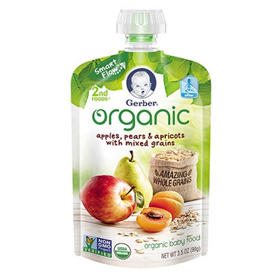 Gerber® Organic 2nd Foods® Pouches Apples, Pears & Apricots With Mixed Grains