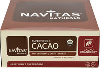 Navitas Naturals Cacao Cranberry Superfood Bars-12 Bars