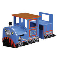 Teamson Kids Table and Chair Set:  Train Writing Table - Blue/Red