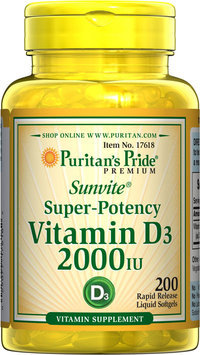Puritan's Pride 2 Units of Vitamin D3 2000 IU-200-Softgels
