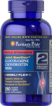 Puritan's Pride Triple Strength Glucosamine, Chondroitin & MSM Joint Soother-180 Caplets