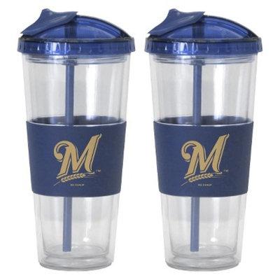 Boelter Brands MLB Brewers Set of 2 No Spill Straw Tumbler - 22oz