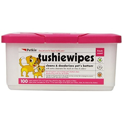 Petkin Tushie Wipes, 100-Count Pack (Pack of 4)