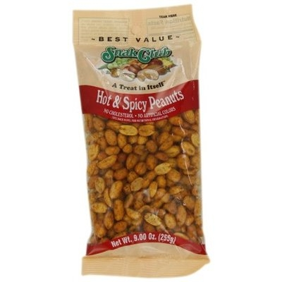 Snak Club Peanuts, Hot and Spicy, 9 Ounce (Pack of 6)