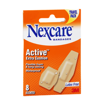 Nexcare Active Extra Cushion Waterproof Assorted Bandages - 8 CT