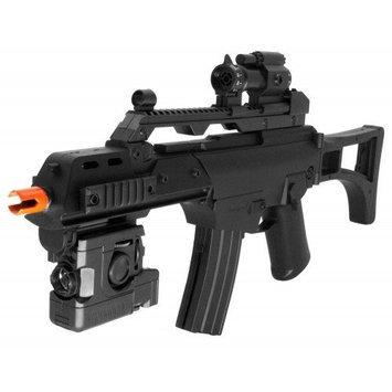 Electric Powered Combat Elite Arms G36 Open Stock FPS-240 Airsoft Gun, Flashlight, Gun Strap, Mock Sight