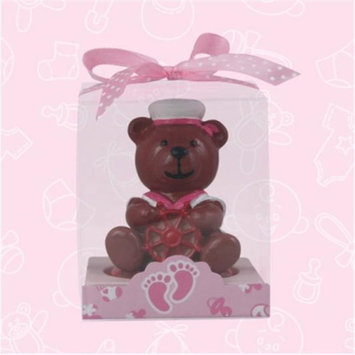 De Yi Enterprise De Yi 11005-PK Sailor Bear Candle Favors in Pink