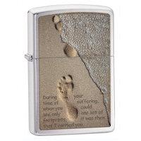Zippo Footprints Brushed Chrome Pocket Lighter