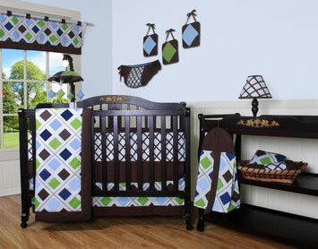 Geenny GEENNY Blue Brown Diamond 13PCS Crib Bedding Set