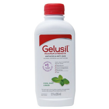 Gelusil Maximum Strength Antacid & Anti-Gas Liquid, Cool Mint, 12 fl oz