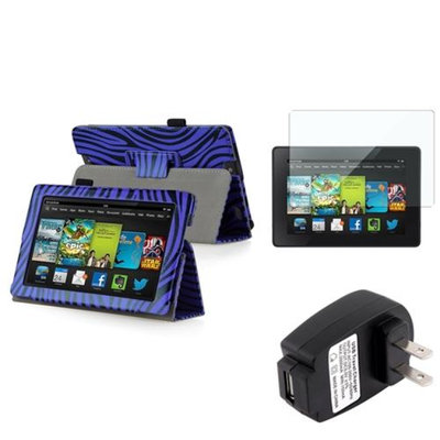 Insten INSTEN Blue Zebra Leather Case Stand Cover+Guard+Charger For Kindle Fire HD 7 2nd Gen
