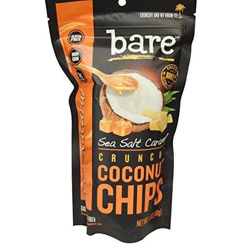 bare® Sea Salt Caramel Crunchy COCONUT CHIPS ~ Gluten Free, 100% Natural, 3 packs, 1.4oz each (3 Pack)
