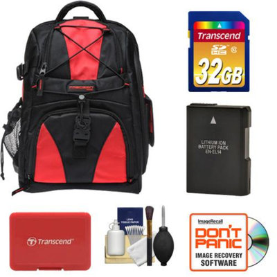 Precision Design Multi-Use Laptop/Tablet Digital SLR Camera Backpack Case (Black/Red) with 32GB Card + EN-EL14 Battery + Accessory Kit for Nikon D3100, D3200, D5100 & D5200