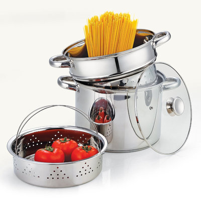 David Shaw Silverware Na Ltd Cook N Home Stainless Steel 4-Piece Pasta Cooker Steamer Multipots with Encapsulated Bottom, 8-Quart