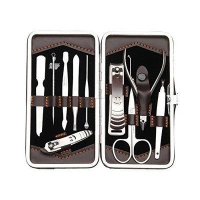 ALICE Manicure / Pedicure Kit, 10 PCS Manicure Set, Leather Grooming Kit