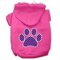 Mirage Pet Products Purple Swiss Dot Paw Screen Print Pet Hoodies Bright Pink Size XS (8)