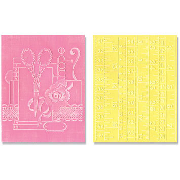 Sizzix Textured Impressions Embossing Folders, Sewing & Measuring Tape