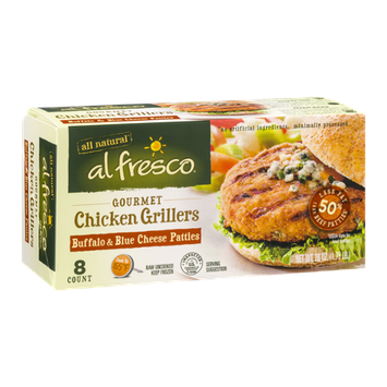 Al Fresco Gourmet Chicken Grillers Patties Buffalo & Blue Cheese - 8 CT
