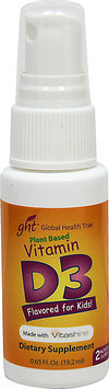 Global Health Trax GHT - Plant Based Vitamin D3 Spray for Kids 200 IU - 0.65 oz.