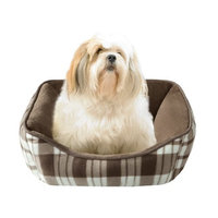 JLA Pets Soft Touch Tan Plaid Reversible Rectangular Cuddler, 21 by 25-Inch