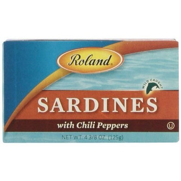 Roland Sardines with Chili Peppers, 4.38-Ounce Cans (Pack of 20)