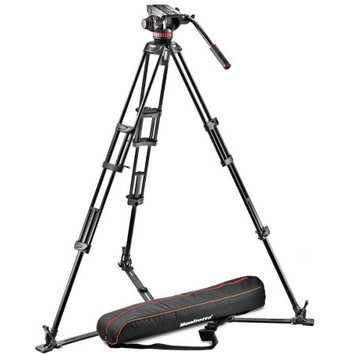 Manfrotto MVH502A 75mm Ball Fluid Video Head with 546GB Aluminum Tripod, Includes Ground Spreader & Bag, 62.4