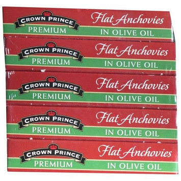 Crown Prince Premium Flat Anchovies in Olive Oil, 5-2oz. Cans