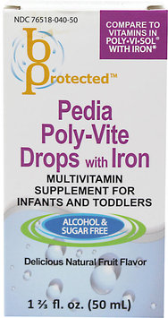 bProtected Pedia Poly Vite Drops with Iron Multivitamin for Infants & Toddlers, Natural Fruit, 1.67 oz
